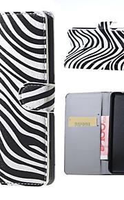 rayas de la cebra Carpeta del patrón del tirón del cuero del caso del soporte con la ranura para tarjeta para el lumia 650 Microsoft