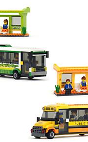 Smart stadsbuss lyckligt barn glädje plast format montering byggsten leksak för pojkar byggstenar tegel leksak modell