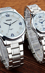 Masculino / Mulheres / Casal Relógio de Moda Quartz Lega Banda Prata / Dourada marca-