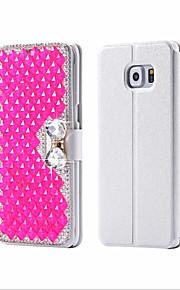 cristallo di lusso bling&Borsa del cuoio di vibrazione di diamante per il bordo S6 SamsungGalaxy (colori assortiti)