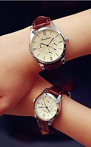 Casal Relógio de Moda Quartz Calendário PU Banda Relógio de Pulso Preta / Branco
