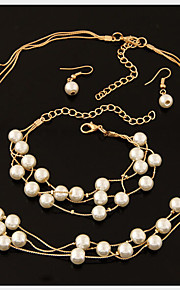 Lucky Doll Alloy / Imitation Pearl / Rhinestone / Silver Plated Jewelry Set Necklace/Earrings / 3 pcs Wedding / Party