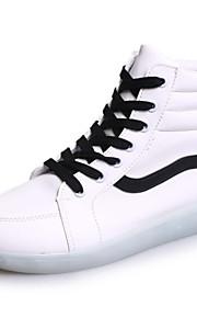 Zapatos de mujer-Tacón Plano-Punta Redonda-Sneakers a la Moda-Exterior / Casual / Deporte-Semicuero-Negro / Blanco