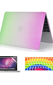 "3 in 1 Rainbow Colorful Plastic Full Body  Case +Keyboard Cover+ Screen Protector for MacBook Pro 13""/15"""