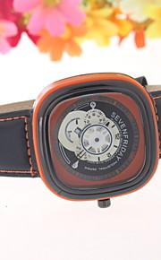 moda fio quadrado pulso vazio dos homens relógios pulseira de couro