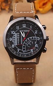relógio de moda masculina redonda preta personalidade placa selvagem couro pu ocasional relógio de quartzo