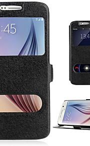 per Samsung Galaxy A7 (2016) caso A510 PU copertura di vibrazione del cuoio con doppia finestra supporto A3 A7 a5 2016