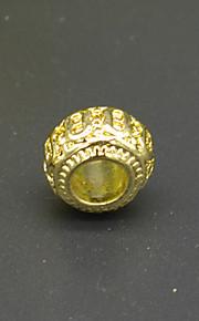 DIY beaded armbånd halskæde tilbehør 18 plating guld tromle formet mønster stort hul perle hac0053