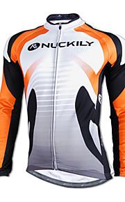 NUCKILY Autumn And Winter Cycling Team Jersey Long-sleeved T-shirt Men Windproof Fleece Sportswear
