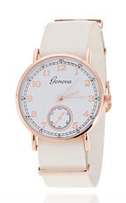 Ladies' Wrist watch Rose Gold Ring White Plate Geneva Fashion British Wind Belt Quartz Watch(Assorted Colors)