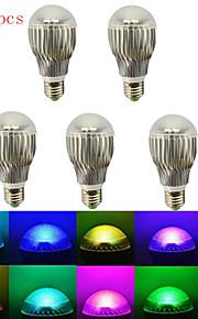 5 stk. HRY E26/E27 5W 5 Høyeffekts-LED 240 lm RGB A60(A19) Dimbar / Fjernstyrt / Dekorativ LED-scenelys AC 85-265 V