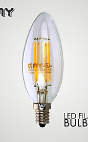 3W E12 LED-lysestakepærer B 4 COB ≥350 lm Varm hvit Dimbar / Dekorativ AC 110-130 V 1 stk.