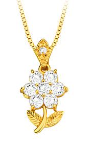 blomster zirconia halssmykke høj kvalitet 18K forgyldt østrigske krystal mode smykker kvinder mærke gave p30107