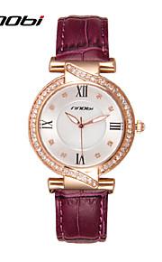 Mulheres Relógio de Moda Quartz Impermeável Couro Banda Relógio de Pulso Roxa