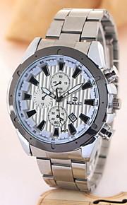 moda calendário de negócios de aço inoxidável relógio de quartzo para homens