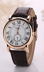 Men's White Case Leather Band Analog Quartz Wrist Watch