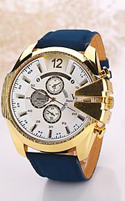 Men's Large Case Leather Band Analog Quartz Wrist Watch