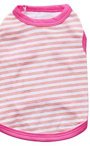 猫用品 / 犬用品 Tシャツ グリーン / ブルー / ピンク / イエロー 夏 / 春/秋 縞柄 ファッション-Pething®