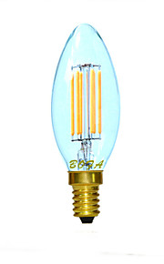 3W E14 / E12 / E26/E27 LED-lysestakepærer C35 4 COB 200-300 lm Varm hvit Dimbar / Dekorativ AC 220-240 / AC 110-130 V 1 stk.