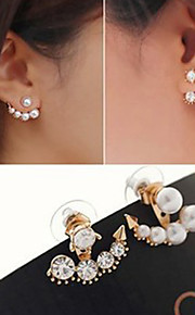 1 Pair Pearl Asymmetric Stud Earrings Jewelry