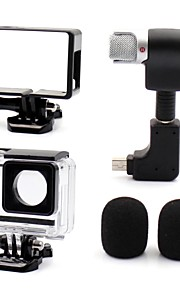 3.5mm Plug Mini Stereo Microphone with Standard Frame + Open Side Case for Gopro 3/3+/4