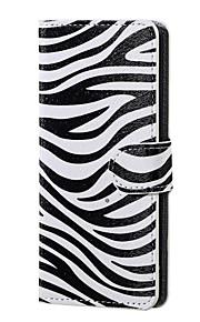 patrón de cebra cubierta de la caja magnética de la PU de la carpeta de cuero del soporte del tirón para lenny wiko 3