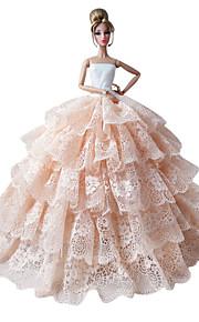 バービー人形用小物-ドレス-プリンセスライン-多色