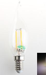1 stk. Zweihnder E14 4W 4 COB 380 lm Naturlig hvit C35 Dekorativ LED-lysestakepærer AC 220-240 V