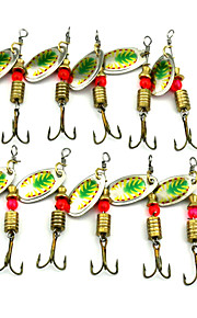 Hengjia 10pcs Deluxe Quality Spoon Metal Fishing Lures 57mm 3.8g Spinner Baits Random Colors