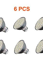5W GU5.3(MR16) LED-spotpærer MR16 60PCS SMD 3528 280lm lm Varm hvit / Kjølig hvit Dekorativ AC 220-240 V 6 stk.