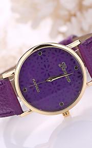 pulseira de couro caso flor branca de quartzo analógico relógio de pulso das mulheres
