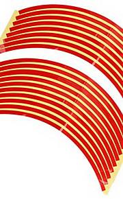 Set 10mm Red Car Wheel Rim Reflective Tape Stripe Decal Sticker