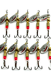 Hengjia 10pcs Spoon Metal Fishing Lures 63mm 3.6g Spinner Baits Random Colors