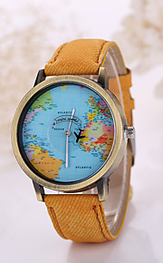 Men/Women Plane Map Case Denim Fabric Band Analog Quartz Wrist Watch