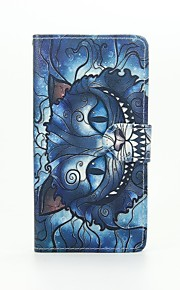 Blue Cat Painted PU Phone Case for Huawei Ascend P9 Lite