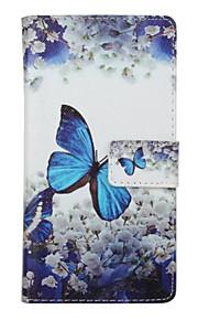 blå sommerfugl mønster pu læder full cover med stativ til Huawei Ascend p9
