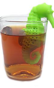 Hippocampus form silikon te infuser tesil kaffe filter verktøy løs blad sil bag krus filter