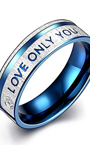 "lureme® Stainless Steel ""LOVE ONLY YOU"" Promising Ring - Blue Tone"
