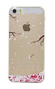 material de TPU da flor de ameixa padrão de caixa do telefone fino para iphone SE / 5s / 5