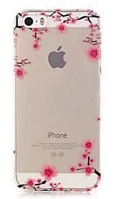 TPU Plum Flower Pattern Transparent Soft Back Case for iPhone SE 5s 5