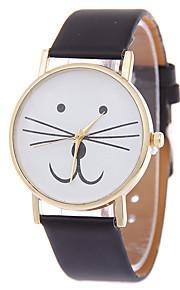 Mulheres Relógio de Moda Bracele Relógio Quartzo Gato PU Banda Desenhos Animados Preta Branco Azul Vermelho Marrom RosaPreto Marron