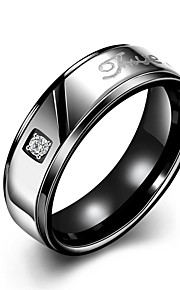 "lureme® Classic Stainless Steel ""LOVE"" Polished Couple Ring for Mens"
