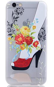 TPU lyser i mörkret genomskinliga röda skor reliefmönster mjukt skydd ringer fallet för iphone 6 / 6s / 6 plus / 6s plus