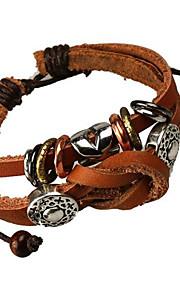Strand Armbånd / Læder Armbånd 1pc,Sort / Brun Armbånd Legering / Læder Smykker Dame / Herre