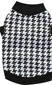 Gatos / Perros Camiseta Negro-Blanco Verano / Primavera/Otoño Houndstooth Moda, Dog Clothes / Dog Clothing-Other