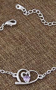 Kæde & Lænkearmbånd / Charm-armbånd 1pc,Sølv / Lilla Armbånd Moderigtig Legering / Rhinsten Smykker Dame