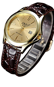Casal Relógio de Moda Quartz Relógio Casual PU Banda Marrom marca