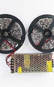 z®zdm 2x5m 140w 600x5050 SMD LED kald hvit / varm hvit ac110-240v til dc12v10a transformator