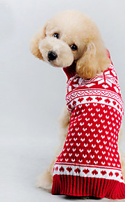 Autumn and Winter Christmas Snowflake Red and White Spotted Dog Sweater Dog Clothes for Pet Dogs