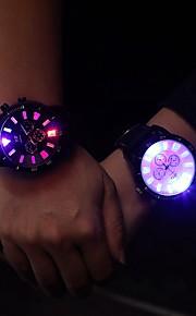 Masculino Mulheres Unissex Relógio de Moda Relógio de Pulso Quartzo LED Luminoso PU Banda Casual Preta Branco Preto